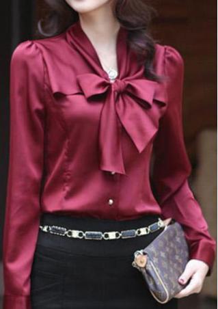 Bowknot Button Chiffon Shirt