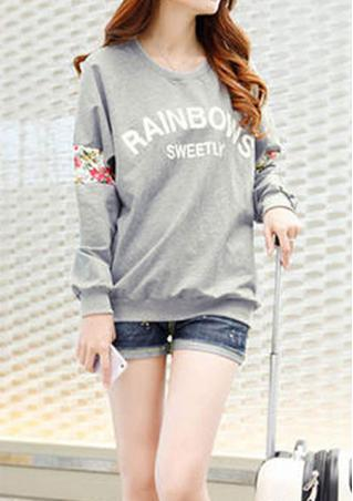 Long Sleeve Splicing Print Sweatshirt