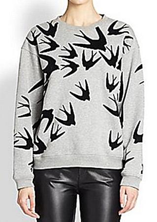 one size swallow print sweatshirt