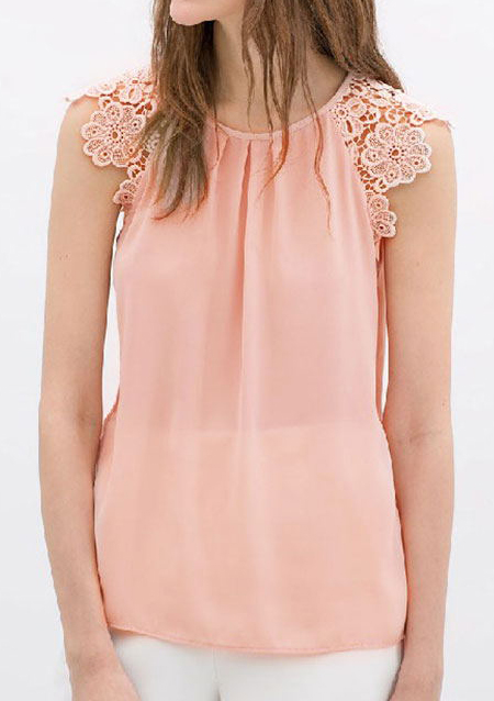lace floral hollow splicing tank