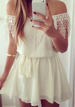 Off The Shoulder Lace Spliced Mini Dress