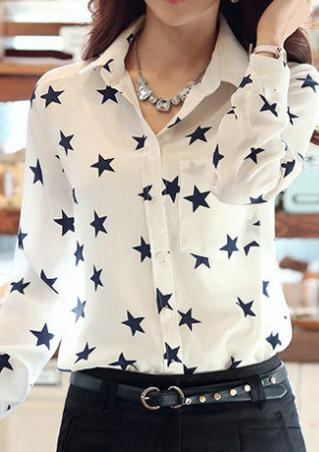Long Sleeve Star Printed Shirt