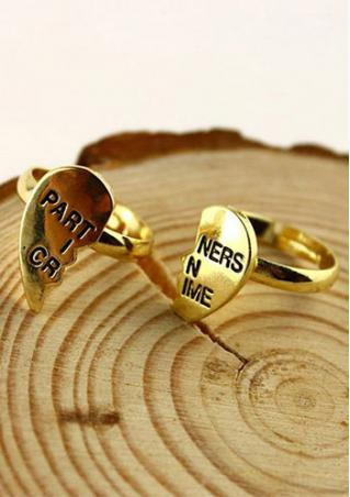 2pcs Heart Best Friend Chain Rings