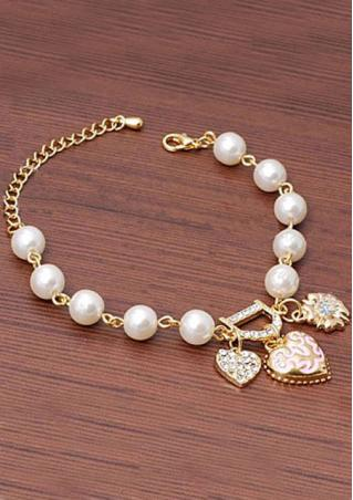 Heart Floral Bead Rhinestone Bracelet
