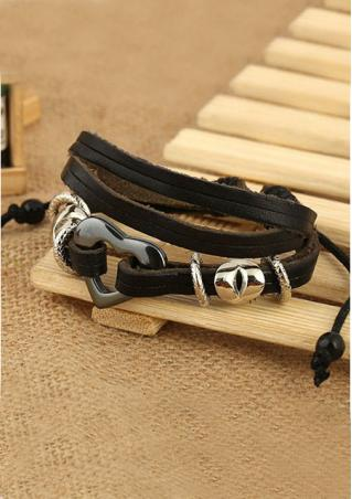 Black Leather Heart Multi-Layer Bracelet