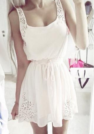 Sleeveless Chiffon Belt Mini Dress