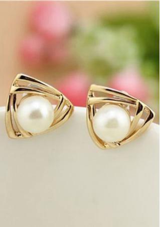 Triangle Alloy Tone Faux Bead Earrings