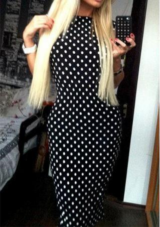 Polka Dot Backless Bodycon Dress