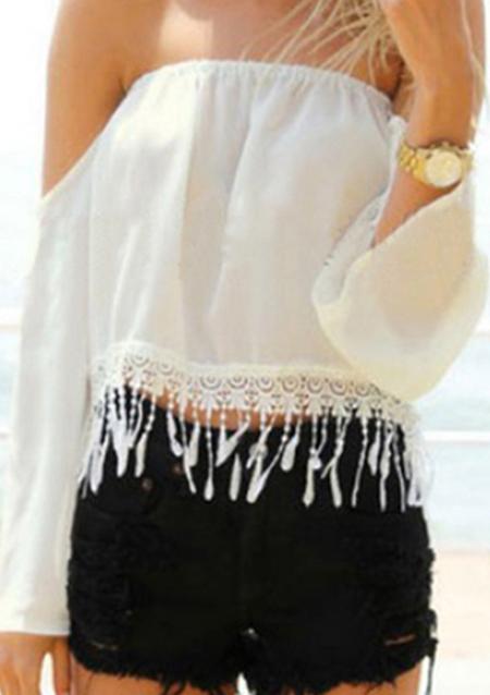 Off Shoulder Lace Crop Top