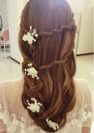 Rhinestone Pearl Flower Clasp Hairpin