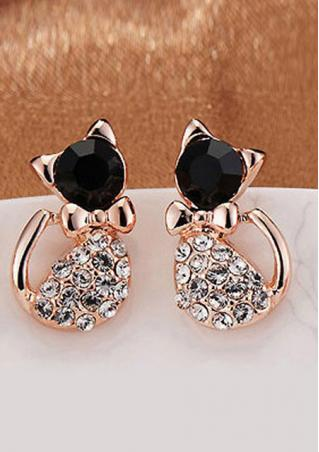Rhinestone Bowknot Kitten Earrings