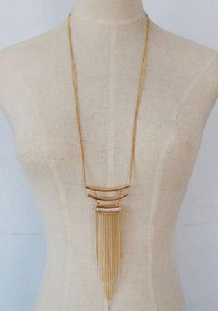 Rhinestone Tassel Pendant Necklace