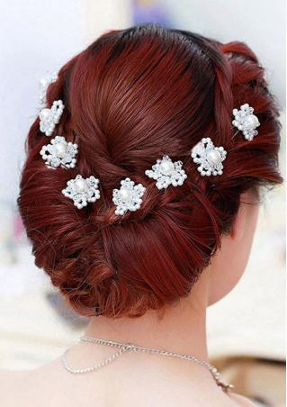 Pearl Crystal Flower U Shape Hairpin