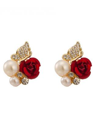 Bead Red Rose Flower Ear Stud