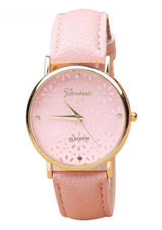 Pure Geneva Leather Band Wristwatch