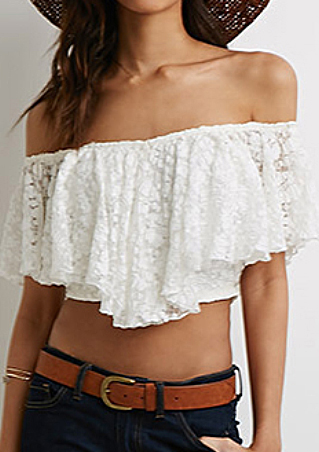 One Size Off The Shoulder Lace Crop Top