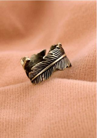 Alloy Feather Leaf Ring