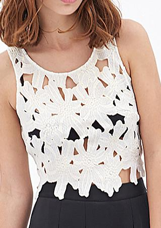 Sleeveless Hollow Crop Top
