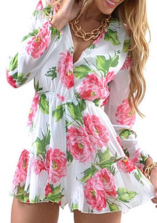 Long Sleeve Flower Printed Romper