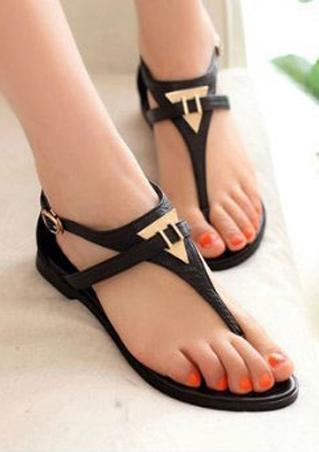 Metal Buckle Cross PU Leather Sandals