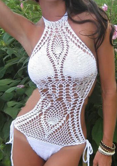 One Size Halter Crochet One Piece Swimsuit