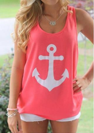 Loose Anchor Print Tank Without Necklace