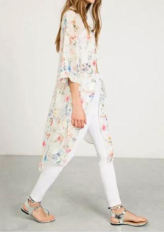 One Size Chiffon Floral Kimono