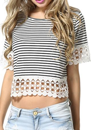 Lace Spliced Striped Crop Top