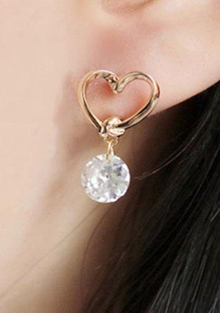 Heart Imitated Crystal Earrings