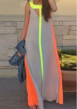 Chiffon Splicing Maxi Dress