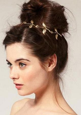 Metal Rhinestone Gold Leaves Headband