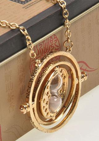 Alloy Hourglass Rotating Necklace
