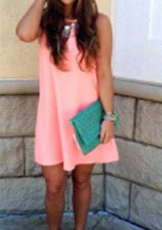 Hollow Solid Mini Dress
