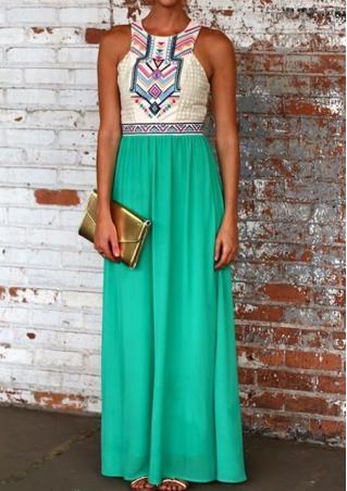 Splicing Floral Print Maxi Dress