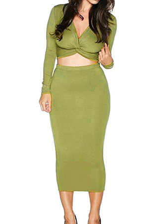 Bodycon Cross Crop Top And Skirt Outfit