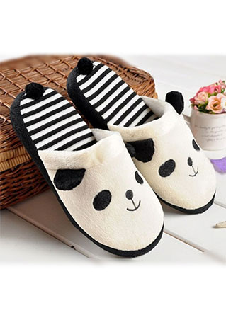 Striped Panda Warm Slippers