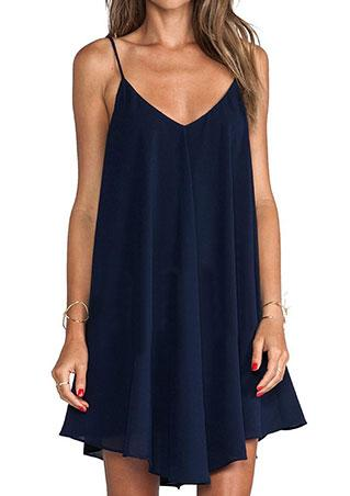 Strap Solid Mini Dress