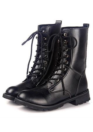 Lace Up PU Leather Solid Boots