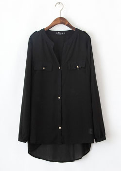 Long Sleeve Solid Chiffon Shirt