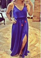 Sleeveless Backless V Neck Maxi Dress