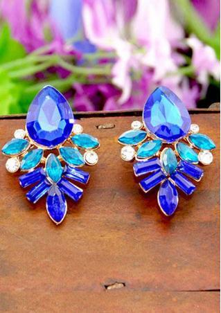 Blue Crystal Flower Drop Earrings