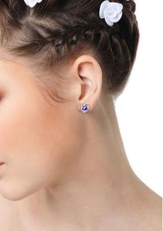 Heart Purple Crystal Earrings