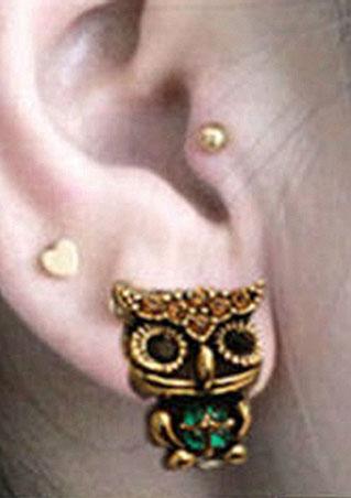 Owl Style Rhinestone Ear Stud