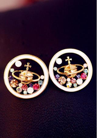 Saturn Universe Imitated Crystal Earrings