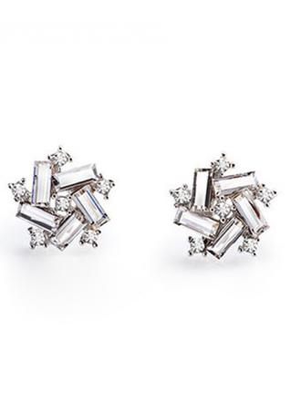 Alloy Imitated Crystal Five Star Ear Stud