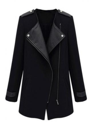 PU Leather Zipper Woolen Coat