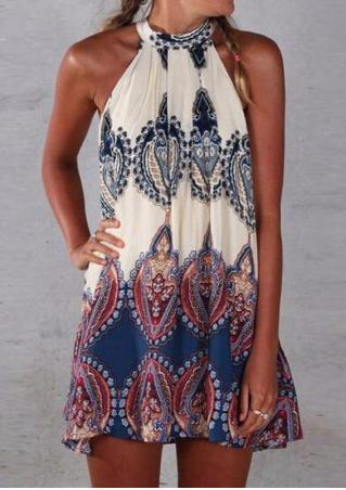 Sleeveless Printed Summer Dress