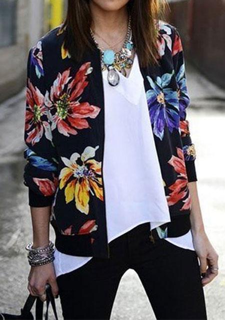 Floral Zip Up Jacket
