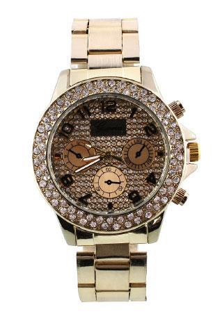 Rose Gold Crystal Quartz Wristwatch