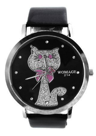 Cat Pink Stainless Steel Wristwatch